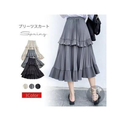 フレアスカート 不規則裾 ロングスカート 春夏 スカート CZJB509