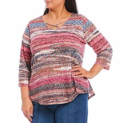ルビーロード レディース Tシャツ トップス Plus Size Faded Stripe Crisscross V-Neck 3/4 Sleeve Knit Top Fuchsia Multi