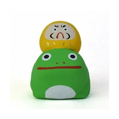 瀬戸陶芸社 置物 オブジェ かえるに乗るだるま 蛙 達磨 黄手仕事 職人 愛知県 瀬戸市 玩具工房 懐かしいけど
