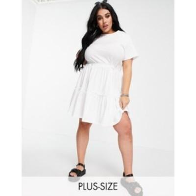 リバーアイランド レディース ワンピース トップス River Island Plus tiered smock mini dress in white White