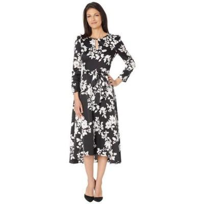 タハリバイエーエスエル レディース スカート ドレス Long Sleeve Hammered Satin Midi Dress with Hi Low Hemline