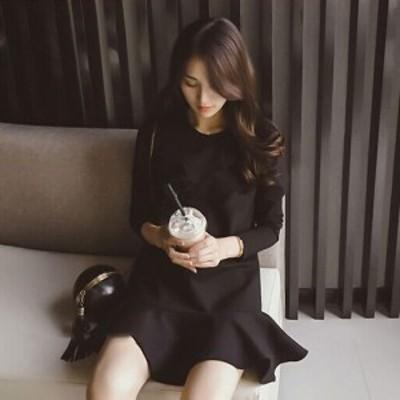 裾ペプラム 長袖ミニワンピース シンプルエレガント 可愛い XS~4XL ワンピース 即納mme2159