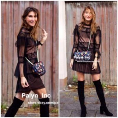 Rare  ファッション ドレス Rare _NWT ZARA AW17 BLACK TULLE AND LACE DRESS FRILLED 7901/261_M XS