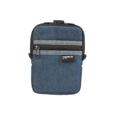 トラスコ デニムコンパクトケース 2ポケット ブルー※取寄せ品 TDC-K101