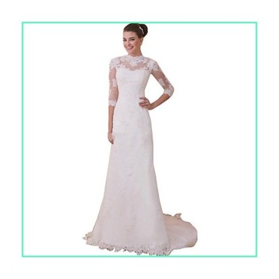 Fenghuavip Elegant 3/4 Sleeves White Long Tailing Brides Wedding Dresses (2)並行輸入品