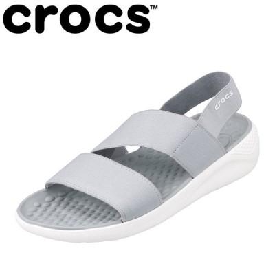 クロックス crocs 206081 レディース | サンダル | 軽量 軽い | LITERIDE STRETCH | ライトグレー×ホワイト