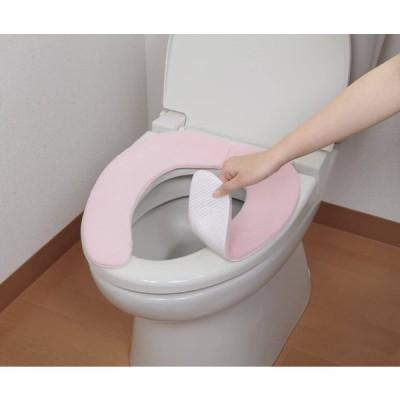 日本製 消臭 洗えるサンコー ずれない トイレ 便座カバー 9mm ピンク ふんわり おくだけ吸着 KC-67