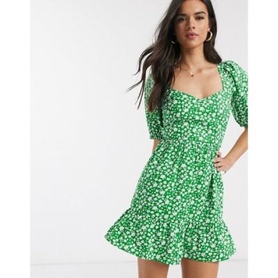 エイソス レディース ワンピース トップス ASOS DESIGN tiered mini dress with puff sleeves and open back in ditsy floral print