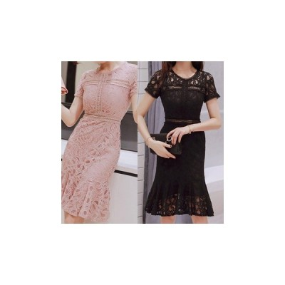 ドレス 半袖 膝丈 レース エレガント 可愛い 上品 大人 結婚式 二次会 fe-1071
