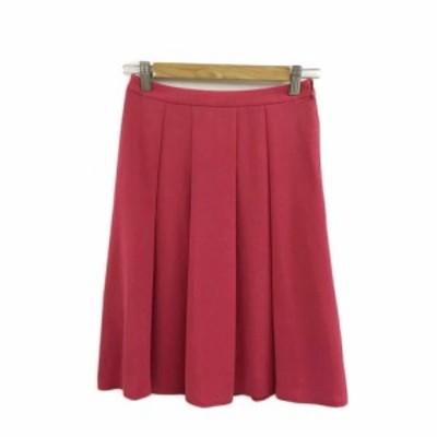 【中古】ケティ KETTY スカート フレア ひざ丈 タック 無地 1 赤 サーモンピンク レッド レディース