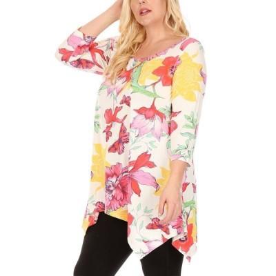 ホワイトマーク カットソー トップス レディース Women's Plus Size Floral Scoop Neck Tunic Top with Pockets White