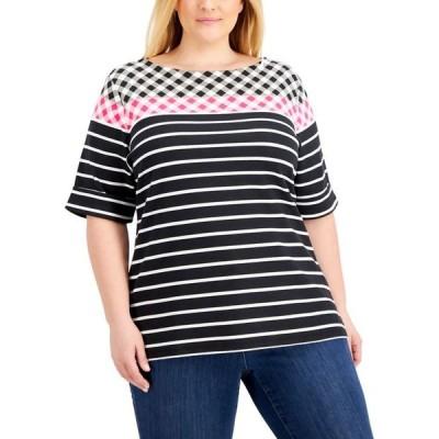 ケレンスコット レディース シャツ トップス Plus Size Printed Cuffed-Sleeve Top