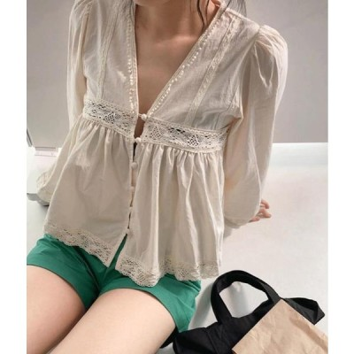 MIXXMIX レディース ブラウス Lace Trim Button-And-Loop Closure Blouse