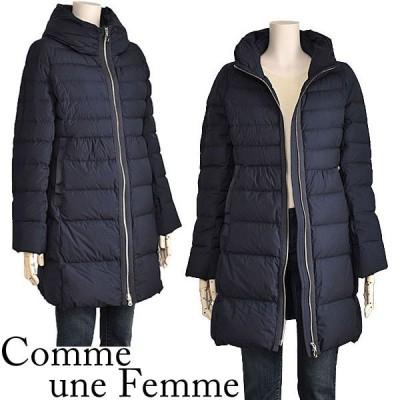軽量 ダウンコート レディース ストレッチダウン フード風ビッグカラー ネイビー Comme une Femme 40代