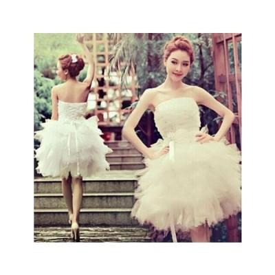 二枚送料無料 ウェディングドレス ミニドレス 二次会 白 ウエディング 花嫁 結婚式 披露宴フォマールドレスショート丈 背中 編み上げ ブライズメイド服