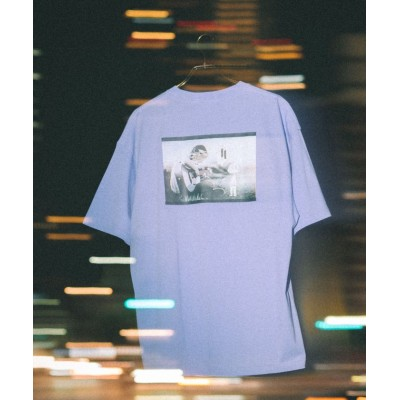 【ロッキーモンロー】 半袖プリントT メンズ レディース ユニセックス Tシャツ カジュアル ビッグシルエット オーバーサイズ 綿 コットン バックプリント フォト ストリート イラ ユニセックス パープル L Rocky Monroe
