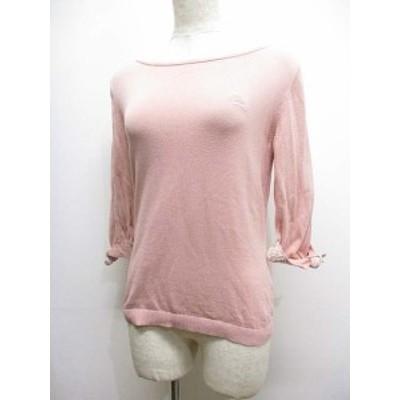 【中古】バーバリーブルーレーベル 七分袖 ニット カットソー セーター 38 ピンク ホース刺繍 綿100% 袖リボン 正規