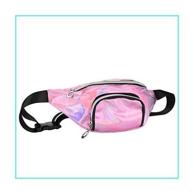 【新品】LYOOMALL Holographic Fanny Pack Fashion Waterproof Shiny Waist Belt Bum Bag for Women Men Kid Travel Festival Hiking Rave (Pink)(並行