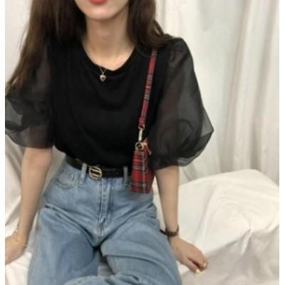 【レディース】半袖 Tシャツ :トップス シースルー 透け感 ゆったり きれいめ 可愛い