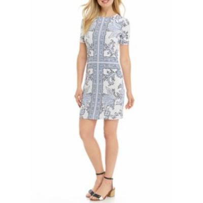 マイケルコース レディース ワンピース トップス Women's Scarf Print Crew Neck Dress White