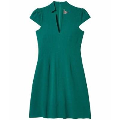 ヴィンスカムート レディース ワンピース トップス Kors Crepe Fit-and-Flare with Notch Neck & Topstitch Detail Emerald