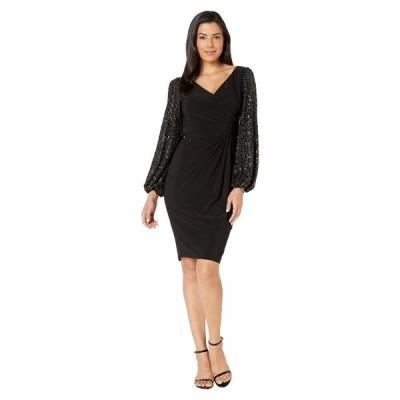 アドリアナ パペル ワンピース トップス レディース Draped Jersey Dress with Sequin Sleeves Black