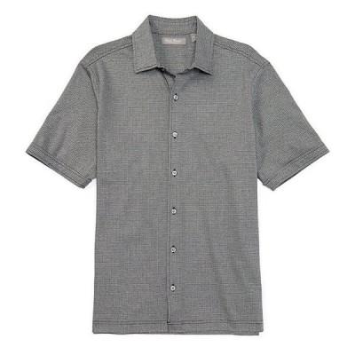 ダニエル クレミュ メンズ シャツ トップス Daniel Cremieux Signature Jacquard Pattern Short-Sleeve Buttonfront Shirt
