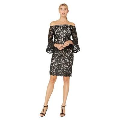 マリナ レディース ワンピース トップス Metallic Lace Off the Shoulder Bell Sleeve Dress w/ Scalloped Hem