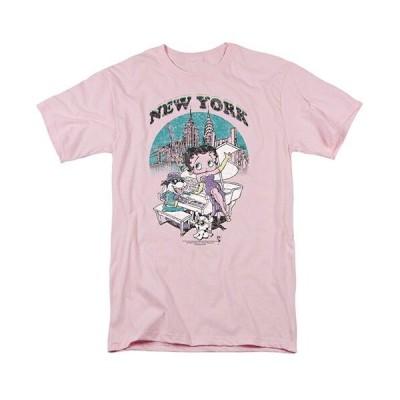 ベティブープ (Betty Boop) Tシャツ SINGING IN NY ピンク アダルト サイズ BB-TV-AT-BB728