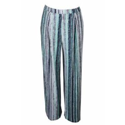 ファッション パンツ Bar Iii Navy Aqua Striped Wide-Leg Soft Pants XS