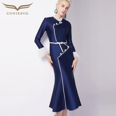 【CONIEFOX】高品質★スタンドカラーフリルベルトパール長袖付きマーメイドタイトライン膝丈ドレス♪ネイビー 紺色 ワンピース