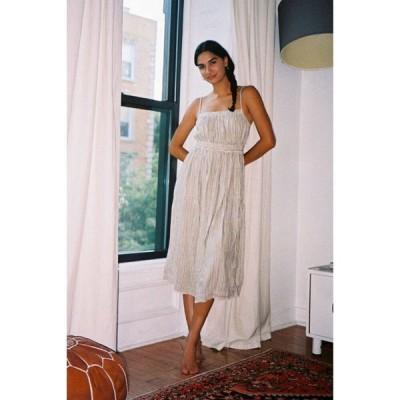 アーバンアウトフィッターズ Urban Outfitters レディース ワンピース ミドル丈 ワンピース・ドレス uo aria linen midi dress Blue Multi