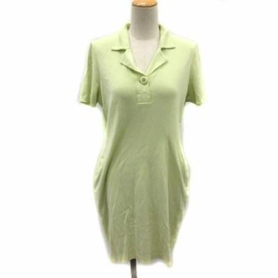 【中古】フォクシー FOXEY ワンピース ポロシャツ 半袖 ひざ丈 緑 /NT7 レディース