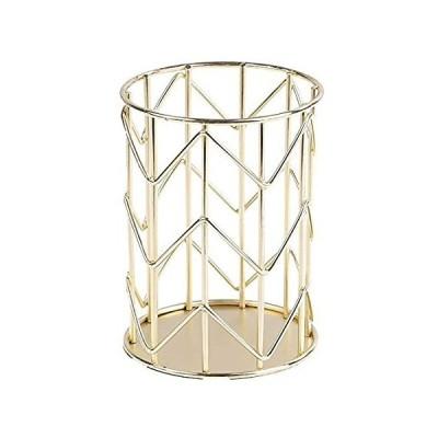 MNBD 丈夫な文房具装飾 デスクアクセサリー コンテナ オーガナイザー ペンシルポットホルダー メイクブラシホルダー ペンホルダー(ゴールド)