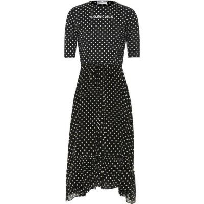 バレンシアガ Balenciaga レディース ワンピース ミドル丈 ワンピース・ドレス crepe polka-dot midi dress Black/White