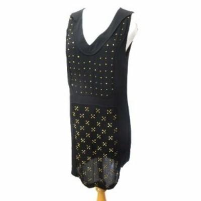 【中古】ダイアンフォンファステンバーグ DIANE von FURSTENBERG ドレス ワンピース ノースリーブ スタッズ 4 M