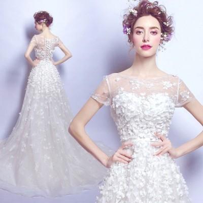 超豪華ウエディングドレス花嫁 結婚式 披露宴 二次会 パーティードレス  ブライダルドレス二次会 ドレス花嫁  姫系トレス プリンセス
