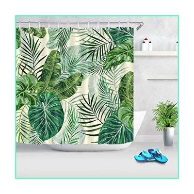 LB Green Tropical Plant Palm Leaf Shower Curtain Coconut Banana Leaves Print Floral Decorative Botanical Shower Curtains for Bathroom 72x72 Inch Polye