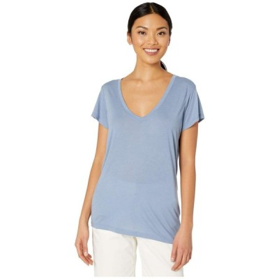 オルタナティヴ Alternative レディース Tシャツ Vネック トップス Melange Burnout Jersey Slinky V-Neck Stonewash Blue