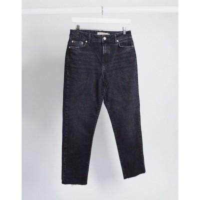 ピーシーズ レディース デニムパンツ ボトムス Pieces nima straight leg high waisted jeans in black Black denim
