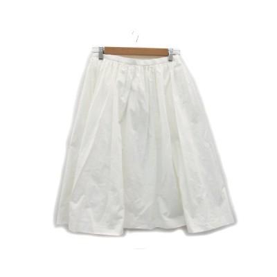 【中古】ドゥーズィエムクラス DEUXIEME CLASSE スカート ギャザー フレア ミモレ丈 ペチコート付き 36 ホワイト 白 /MS11 レディース 【ベクトル 古着】