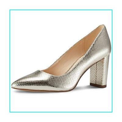 JENN ARDOR Chunky Thick Block Heel Pumps Pointed Closed Toe Office Dress Lady High Heel Shoes Gold 5.5 M US【並行輸入品】