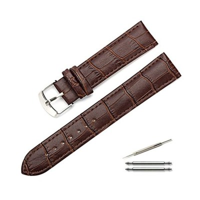 Calme(カルム) 腕時計 ベルト 本革 クロコ型押し レザー 時計 バンド 交換ベルト 12mm 〜 22mm 交換説明書付き (22mm ダークブラウ