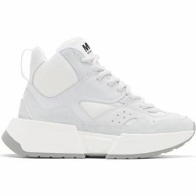 メゾン マルジェラ MM6 Maison Margiela レディース スニーカー シューズ・靴 White & Grey Flare Runner High-Top Sneakers White/Light
