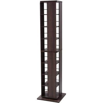 [山善] 回転本棚 8段 幅45×奥行45×高さ182.5cm 壁付け・角置き可 コンパクト 大容量 組立品 ウォルナット DSRR-8(WL)
