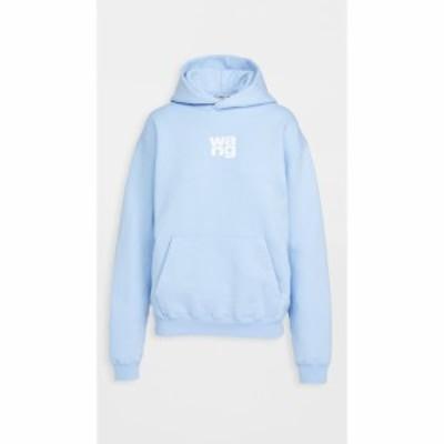 アレキサンダー ワン Alexander Wang レディース パーカー トップス Garment Washed Hoodie With Wang Puff Print Light Blue