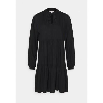 トムテイラーデニム ワンピース レディース トップス MIDI DRESS WITH BOW DETAIL - Day dress - deep black