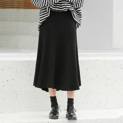 トレンド 秋冬物 売れ筋  スカート ニット プリーツ ギャザー  シンプル ハイウエスト