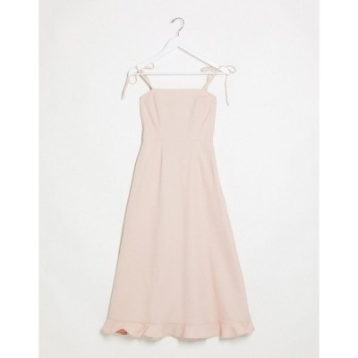 エイソス レディース ワンピース トップス ASOS DESIGN denim square neck midi dress with frill in pink Pink