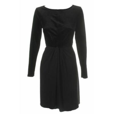 Michael Kors マイケルコルス ファッション ドレス Michael Michael Kors Black Long Sleeve Mixed-Media Twist Front Dress M